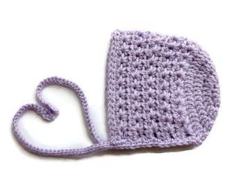 Crochet Baby Bonnet/Crochet Baby Hat/Crochet Star Bonnet/Orchid Bonnet/Baby Shower Gift/Baby Baptism/Baby Photo Props/Handmade Gift