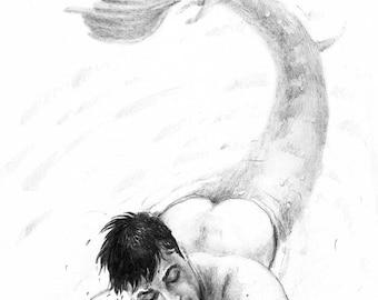 The merman. Print. 30x40 cm.