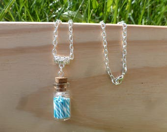 vial necklace sugar blue Fimo for child