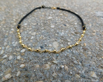 Faux Leather and Gold Pyrite Choker