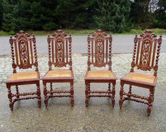 Exceptionnel 4 Antique Ornate Barley Twist Hand Carved Wood Parlour Chair Rush Cane  Seating