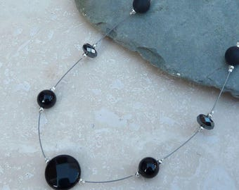 Black Onyx, Hematite and Sterling Silver Floating Beaded Necklace - NEK024 - Illusion, Handmade, Jewellery, Jewelry, Gift, Present, For Her