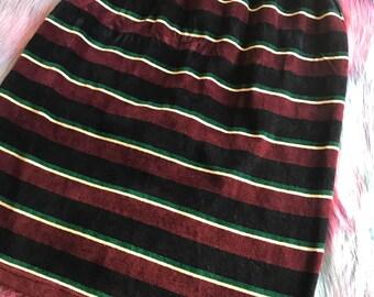 90s Striped Velvet Skirt