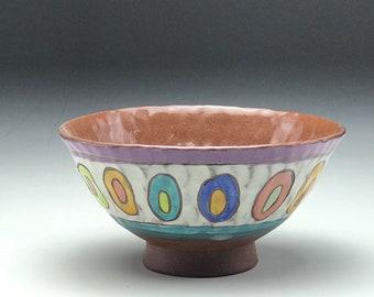 Hand thrown bowl, wheel thrown pottery, pinched clay bowl, ceramic cereal bowl, handmade bowl, polka dot pattern, rainbow colors, stoneware