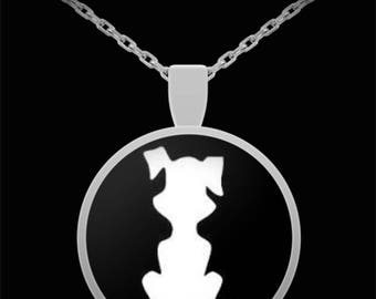 Cute Puppy Dog Reverse Silhouette Necklace Doggy Lover Black Dog Animal Rescue Dad Daughter Jewelry I Love You Birthday Gift