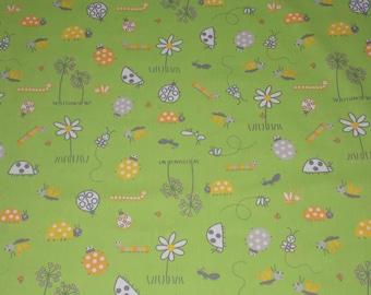 Apple green cotton fabric patterns ladybugs, flowers... 100 x 100 cm. Kids fabric.