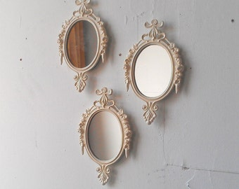 Oval Wall Mirror Set In Glossy Vintage White, Small Decorative Mirrors,  Vintage Wedding, French Country Cottage, Home Wall Decor