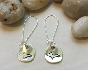 Upper Peninsula Michigan Earrings, UP, Yooper (LL71)