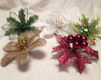5 Glittered Flower Clips Red White Gold Green