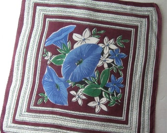 1940s Vintage Handkerchief Cotton, Blue Morning Glories Floral, Framed Center Print, Maroon, White, Green, Hanky Hankie, 12 x 11. 5