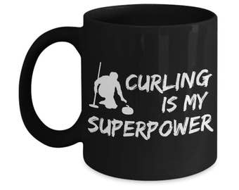 Curling Sport Black Ceramic Mug Is Perfect Winter Sports Gift. Hurry Hard, Grab Your Curling Broom & Curling Stone For You Or Curling Coach