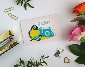 Parrot Card - Hello Card - Greeting Card