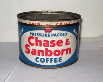 Vintage Chase & Sanbord 1 Pound Coffee Tin - Vintage Chase and Sanborn Key Wound Coffee Tin - Vintage Chase and Sanborn Coffee Tin