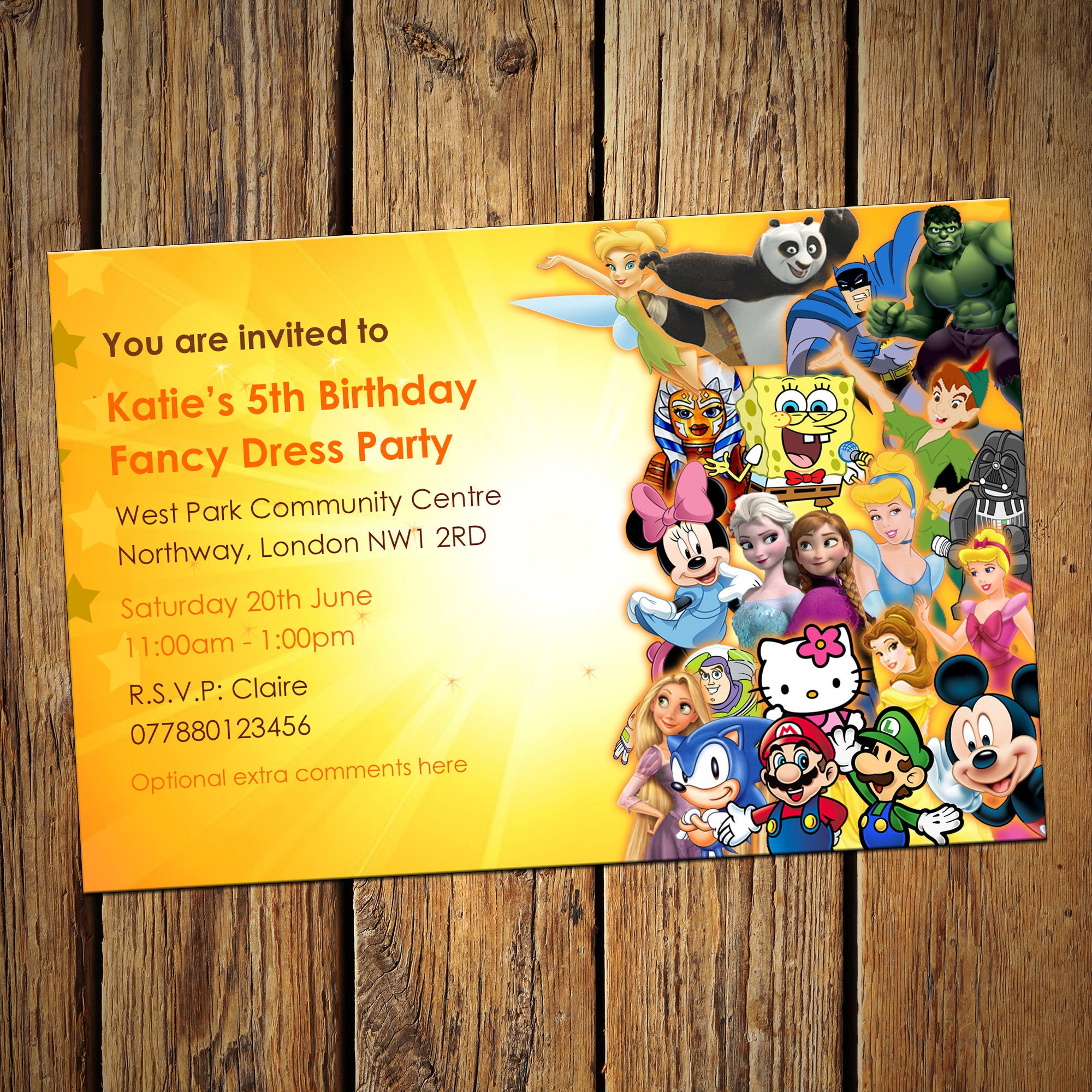 Kids Birthday Personalised Party Invitations Fancy Dress