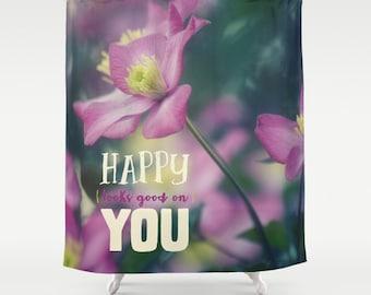 Fleurs en tissu rideau de douche - heureux semble bon sur vous - printemps - photographie originale par RDelean Designs