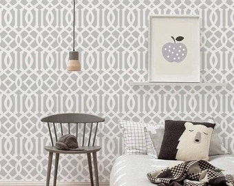 Self adhesive Peel and stick wallpaper  - Trellis pattern - 102 WHISPER/ SNOW
