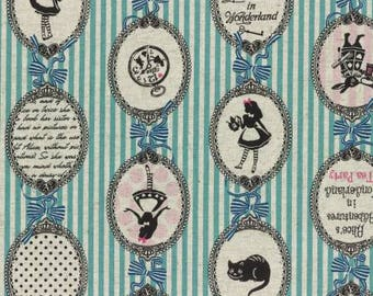 A Girl's Story, Alice in Wonderland 40823L-70 Alice Cameos on blue stripes By Lecien Fabrics