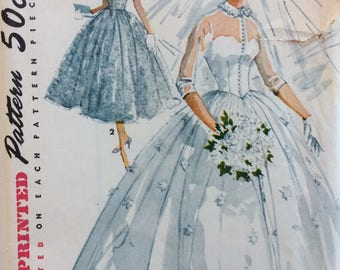 Simplicity 4697  misses bridal gown & bridesmaid dress size 13 bust 31 vintage 1950's sewing pattern