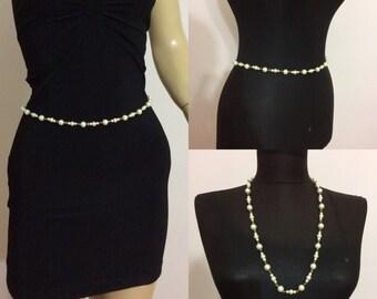 pearl belly chain , belly dance, waist chain, wedding belt, pearl belt, body chain , body jewelry,