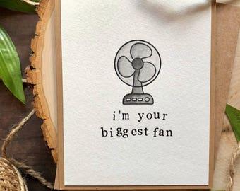Fan pun watercolor handmade greeting card, good luck congratulations encouragement love cheeky, biggest fan blow me away don't blow it