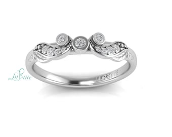 Leaves Wedding Band With Diamonds, Art Nouveau Ring Design