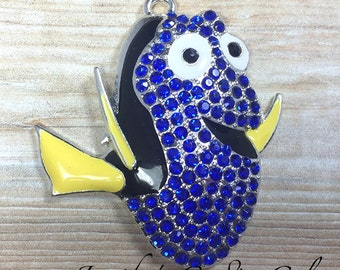 45x40mm, Dory Inspired Rhinestone Pendant, Finding Nemo, Blue Fish Pendant, Rhinestone Fish, Character Pendant, Chunky Necklace Beads