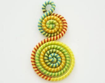 Charm woven on twisted wire 40mm x 20mm yellow green orange