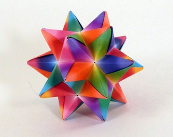 Rainbow Star, Origami Star, Rainbow decoration, Rainbow Ornament, Origami Ornament, Christmas Ornament