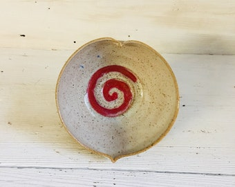 Heart Bowl with Red Spiral