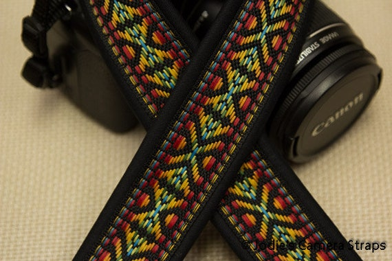 "Camera Strap Vintage Woven Red Yellow 1.5"" Wide Custom Padded Fits DSLR SLR 5364"