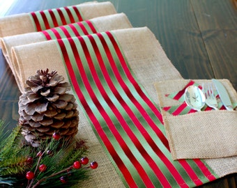 Christmas Table Runner  Rustic Winter Table Decor Burlap Table Topper - Country Christmas Table Decoration hand made in the USA