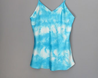 Silk tank top, sleeveless silk blouse, silk camisole, hand dyed silk, size L, gift for her