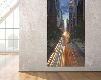 New York City 42nd Street Canyon Triptych Metal Wall Art