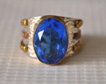 Sterling Silver Sapphire Ring Sz 6.5  #9749