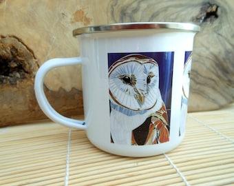 Barn Owl Enamel Mug - Owl Camping Mug - Barn Owl Mug - Bird Mug - Camping Gift  Gardening Mug Gift for Gardener Gift for Bird Lover