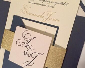 Gold, Navy and Blush Wedding Invitations