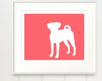 Puggle Silhouette Modern Pet Decor Dog Lover Gift Mod-Dog Archival Fine Art Print - 8x10