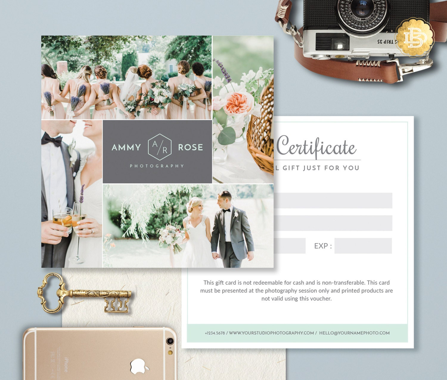 Photography gift card template photoshop gift certificate zoom yelopaper Gallery
