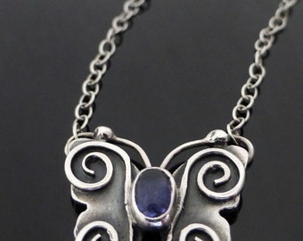 Small Sterling Silver Butterfly Necklace with Iolite, butterfly necklace, sterling silver butterfly necklace