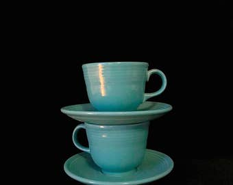 Vintage Lot of 2 Homer Laughlin Fiesta Cups and Saucers in TURQUOISE COLOR Mid Century Modern Color MCM