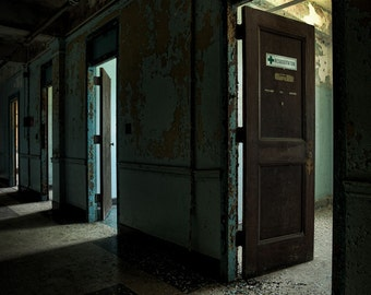 Open Doors - Abandoned Asylum, Fine Art Color Photograph, HDR, Urban Exploration, Free Shipping Signed Print
