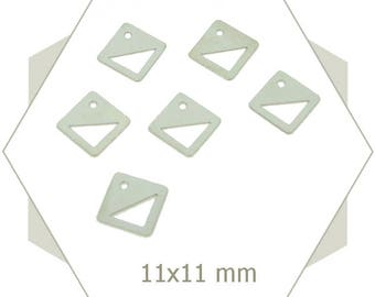 10 diamond pendent charm silver color, steel color, brass, stamping, BA123