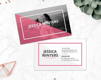 INSTANT DOWNLOAD Business Card Photoshop Template, Photography Business Card Template, Modern PSD Template, Calling Card Template, BC17