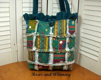 Teal Blue Faux Suede with Bright Colored Patchwork Tote -  Perfect for the Colder Weather