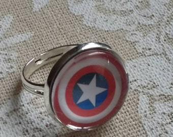 Captain America shield silver ring
