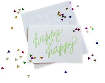 Confetti Happy letterpress card