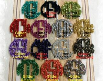 Monogram Necklace - Circle Monogram 3 Initial Name Acrylic Monogram Jewelry , Bridesmaids Gift , Glitter necklace