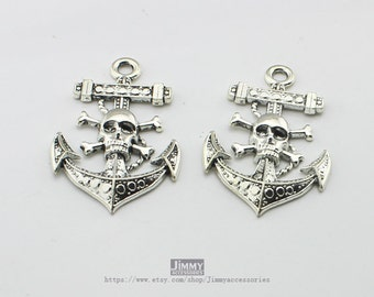 5pcs 32x50mm Antique Silver Skull Anchor Charm Connector