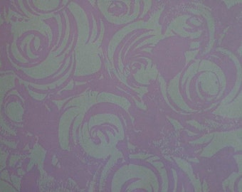 Vintage Wrapping Paper 1970s All Occasion Floral Print Purple Abstract Rose Print 2 Sheets