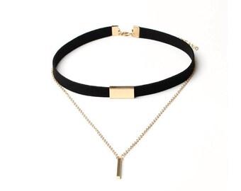 Black velvet choker necklace with gold chain